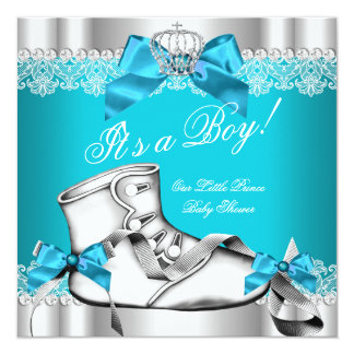 Prince Baby Shower Baby Boy Teal Lace Shoe 6D Card