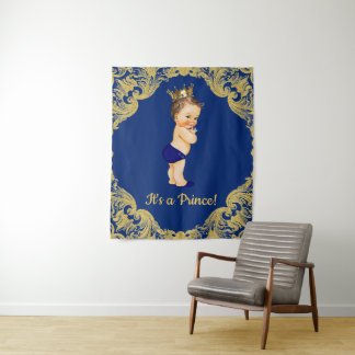 Prince Baby Shower Backdrop Banner Tapestry
