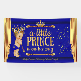 Prince Baby Shower Blue Gold Drapes Blonde Boy