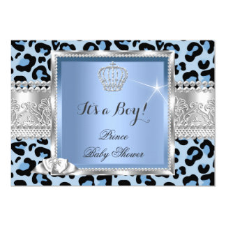 Prince Baby Shower Boy Blue Gray Leopard Card