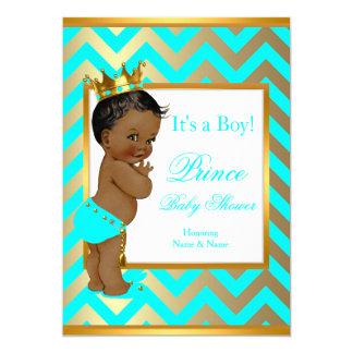 Prince Baby Shower Boy Gold Teal Blue Ethnic 13 Cm X 18 Cm Invitation Card