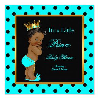 Prince Baby Shower Boy Teal Black Ethnic 13 Cm X 13 Cm Square Invitation Card