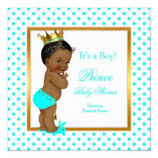 Prince Baby Shower Boy Teal Polka Dot Ethnic 13 Cm X 13 Cm Square Invitation Card