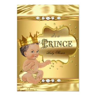 Prince Baby Shower Gold Foil Brunette Baby Boy Card