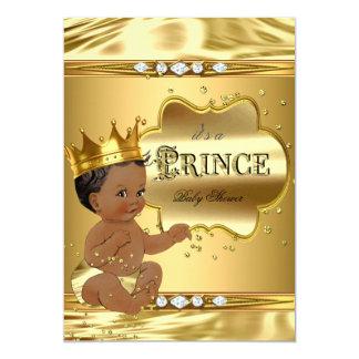 Prince Baby Shower Gold Foil Ethnic Baby Boy 13 Cm X 18 Cm Invitation Card