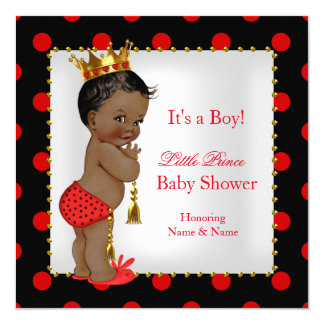 Prince Baby Shower Red Black Boy Ethnic 13 Cm X 13 Cm Square Invitation Card