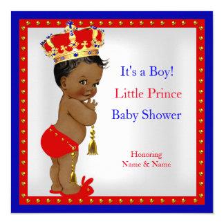 Prince Baby Shower Red White Blue Boy Ethnic 13 Cm X 13 Cm Square Invitation Card
