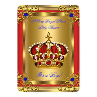 Prince Baby Shower Royal Blue Boy Regal Red Gold Card