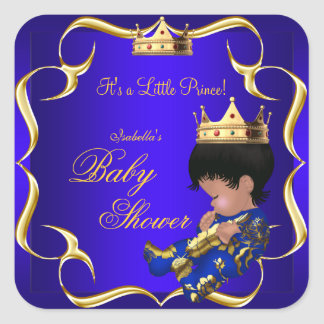 Prince Baby Shower Royal Blue Gold Boy Crown 3 Square Sticker
