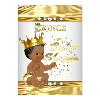 Prince Baby Shower White Gold Foil Ethnic 13 Cm X 18 Cm Invitation Card