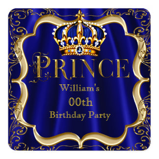 Prince Birthday Royal Blue Gold Crown Mens 2 13 Cm X 13 Cm Square Invitation Card