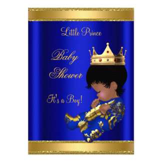 Prince Boy Baby Shower Blue Ethnic 2 Personalized Invitations
