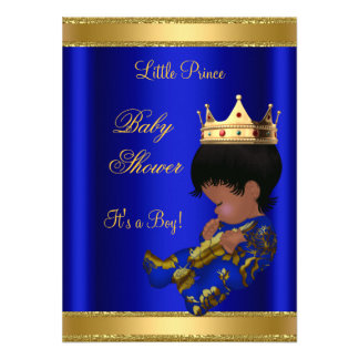Prince Boy Baby Shower Blue Ethnic Custom Invite