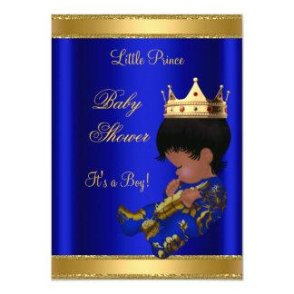 Prince Boy Baby Shower Blue Ethnic 4.5x6.25 Paper Invitation Card