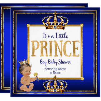Prince Boy Baby Shower Royal Blue Gold Brunette DK Card