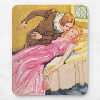Prince Charming kissing Sleeping Beauty Mouse Pad