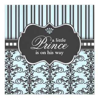 Prince Damask & Stripe Black & Blue Baby Shower 13 Cm X 13 Cm Square Invitation Card