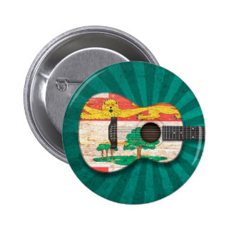 Prince Edward Island Flag Acoustic Guitar teal Pinback Button