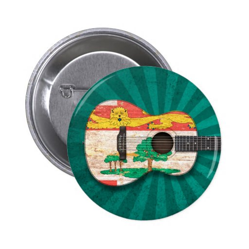 Prince Edward Island Flag Acoustic Guitar, teal Pinback Button