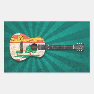 Prince Edward Island Flag Acoustic Guitar teal Rectangular Sticker