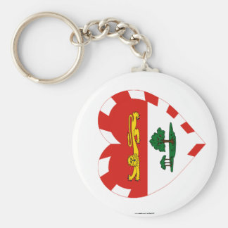 Prince Edward Island Flag Heart Basic Round Button Key Ring