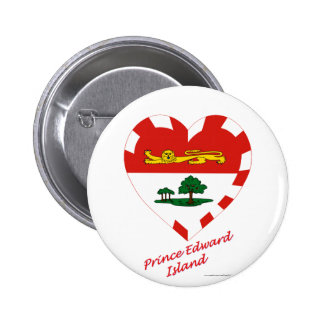 Prince Edward Island Flag Heart with Name Pinback Buttons