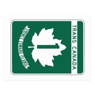 Prince Edward Island, Trans-Canada Highway Sign Postcard