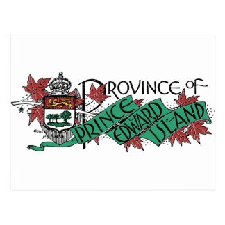Prince Edward Island Vintage Coat of Arms Drawing Postcard