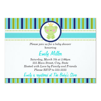 Prince Frog Baby Boy Shower Invitation