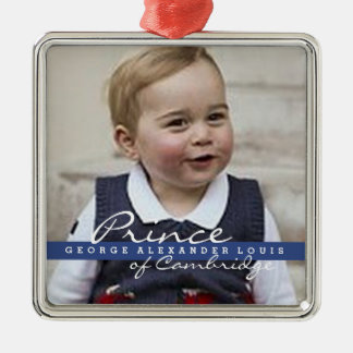 Prince George - William & Kate Silver-Colored Square Decoration