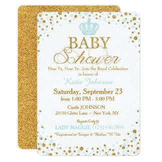 Prince Gold Glitter Sprinkle Baby Shower 13 Cm X 18 Cm Invitation Card
