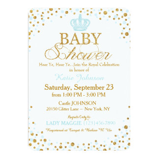 Prince Gold Glitter Sprinkle Baby Shower 13 Cm X 18 Cm Invitation Card