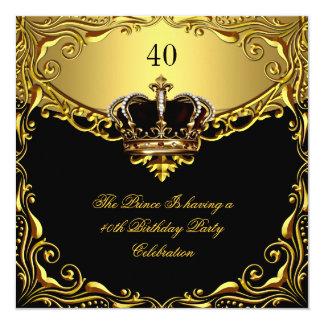 Prince King Gold Royal Black Crown Birthday 13 Cm X 13 Cm Square Invitation Card