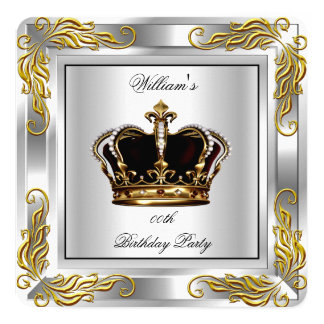 "Prince King Men's Crown Silver Birthday Party 5.25"" Square Invitation Card"