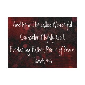 Prince of peace bible verse Isaiah 9:6 Canvas Print