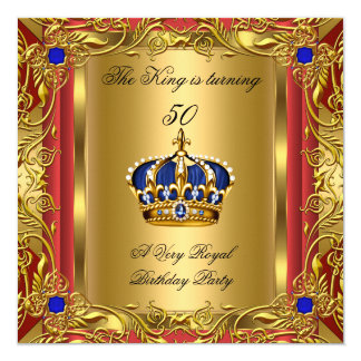 Prince or King Red Gold Royal Blue Crown Birthday Card