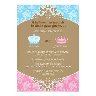 Prince or Princess Damask Gender Reveal Party 13 Cm X 18 Cm Invitation Card