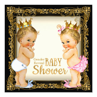 Prince or Princess Gender Reveal Fancy Baby Shower Card