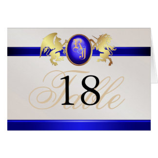 Prince & Princess Blue Jewel Crest Table Card