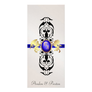 Prince & Princess Blue Jewel Wedding Program Personalized Rack Card