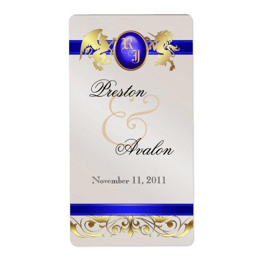 Prince & Princess Blue Jewel Wine Wedding Label Shipping Label