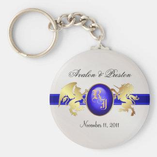 Prince & Princess Blue Ribbon Jewel Keychain