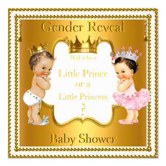 Prince Princess Gender Reveal Baby Shower Brunette Card