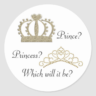 Prince Princess Gender Reveal Stickers