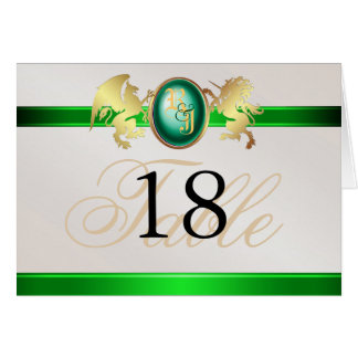 Prince & Princess Green Jewel Crest Table Card