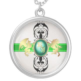 Prince & Princess Green Jewel Monogram Necklace