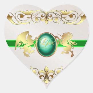Prince & Princess Green Love Heart Stickers