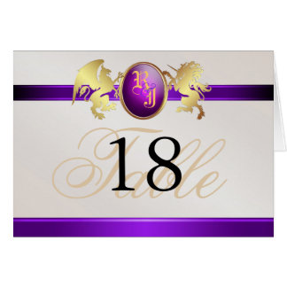 Prince & Princess Purple Jewel Crest Table Card