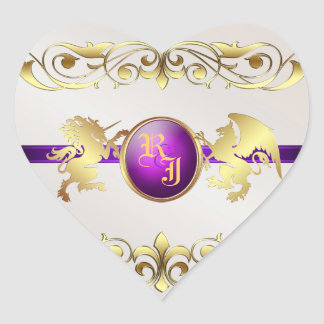 Prince & Princess Purple Love Heart Stickers 2