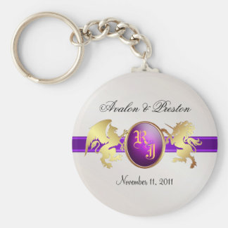 Prince & Princess Purple Ribbon Jewel Keychain